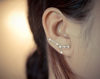 Cancer Zodiac Constellation Sterling Silver Earring Pins/Cuffs