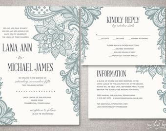 "Romantic Lace ""Lana"" Wedding Invitation Suite - Timeless Vintage Classic Elegant Invite - Custom DIY Digital Printable or Printed Invitation"