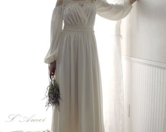 Custom made Sweet Princess Kathryn  Off Shoulder Long Sleeve Woodland Beach Wedding  Dress in Chiffon and Lace - AM1982780