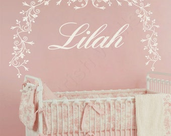 Baby Girl Nursery Wall Decal - Crib Canopy Decal - Nursery Name Decal - Bedroom Wall Decor - Girl Name Wall Decal - Baby Nursery Decor GN070