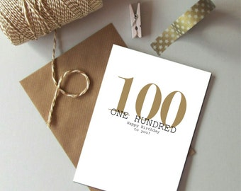 100th Birthday card - Happy 100th Birthday - Hundred birthday card -  Modern typography age birthday card - Birthday card 100 today