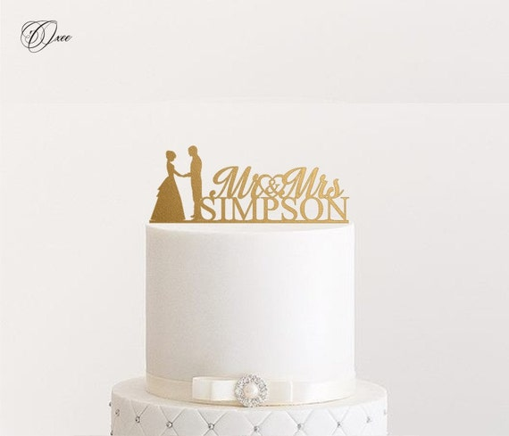 Custom Name Wedding Cake Topper By Oxee Metallic Gold And By Oxee