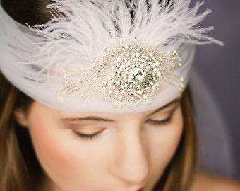 Braut Flapper Stirnband Cleo Strass Federn ivory Great Gatsby