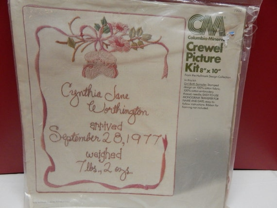 Girl birth sampler vintage retro crewel embroidery picture kit