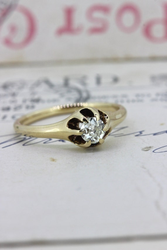 Antique Engagement Ring Victorian Mine By Fergusonsfinejewelry