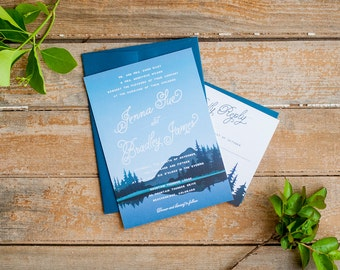 Wedding Invitation, Mountain Wedding Invitation, Rustic Wedding Invitation, mountains, nature wedding invitation, navy wedding invitations