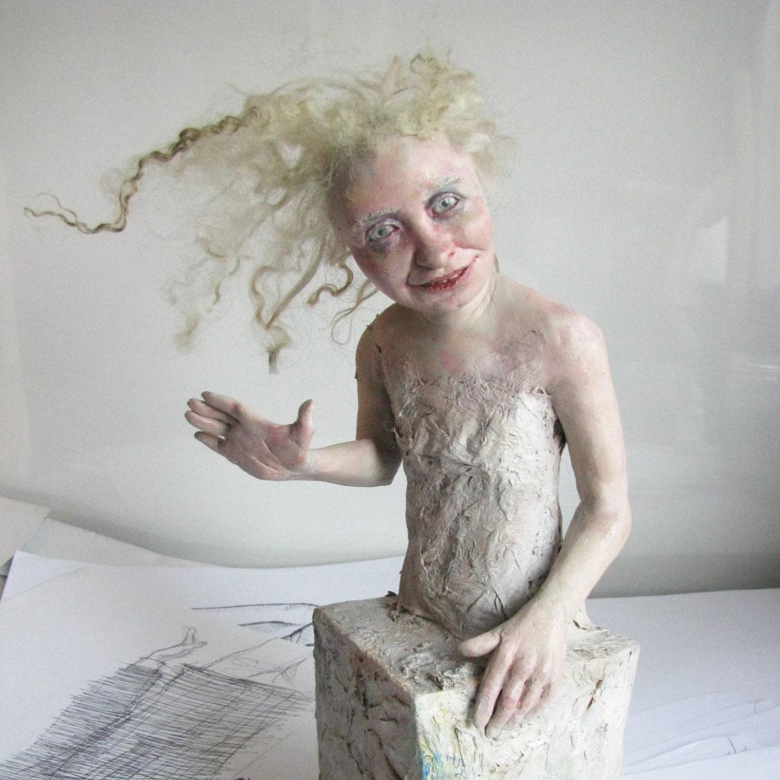 Blonde girl ooak table sculpture strange doll art doll for Strange table