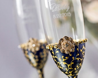 Engraved Wedding Glasses/Navy & Gold/Wedding Champagne Flutes from the collection Art Deco/personalized Wedding gifts/Gold Wedding/2pcs/