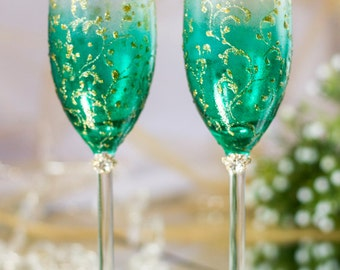 Trend Green & Gold/Personalized wedding champagne glasses/Collection Art Deco/Gold Lace/luxury traditional/Classic Wedding/Weddingday/2pcs/