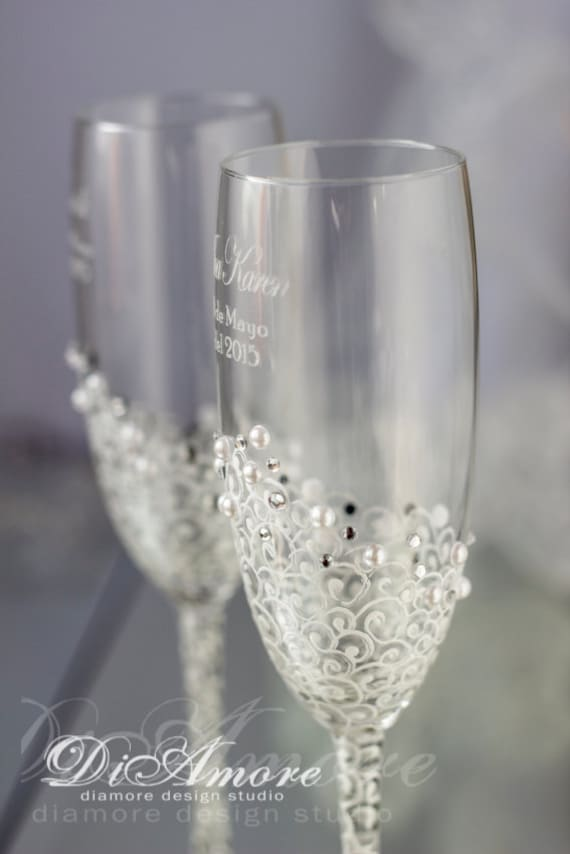 Champagne Glasses With Initials
