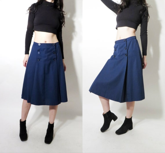 vintage navy blue high waisted flared button up formal knee