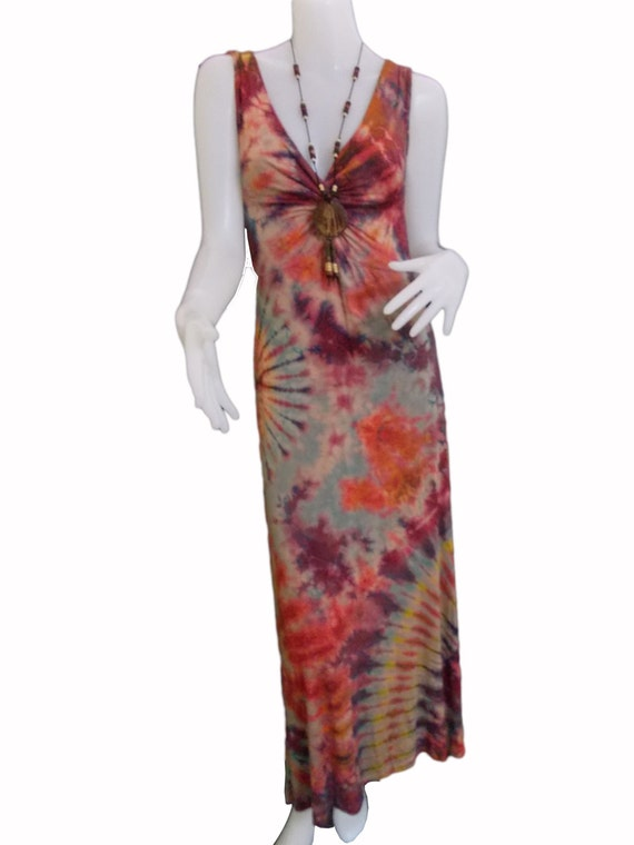Tye Dye Colorful Keyhole Dress