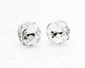 Crystal Swarovski Crystal Post Earrings, Crystal Clear White Stud Earrings, Crystal Cushion Cut Earrings, Bridal Earrings, Gift For Her