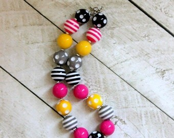 girls chunky necklace birthday necklace girls birthday necklace bubble gum pink black silver yellow pirate babrie necklace for girls