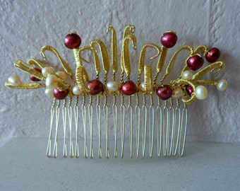 Gold Wire Wrapped Hair Comb With Cultured Pearls In The Colours Of Your Choice