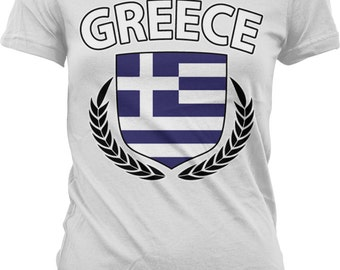 Greek Flag Crest With Olive Branches Ladies T-shirt, Greece Flag Shirt, Women's Greek Flag Shirt, Junior and Women's Greek T-shirts GH_00355