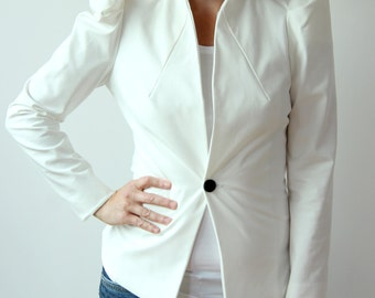 women slim fit blazer, white  jacket, puff sleeve jacket, womens blazer, military pleats jacket, peplum jacket