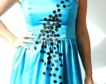 40% off size M left :Bustier dress, strapless dress, blue dress, womens dress, party dress,