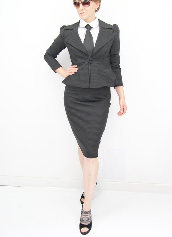 Women tailored suit two piece women outfit peplum by JolyDagmara