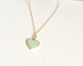 Mint Green Heart Necklace, Everyday Necklace, Gold Friendship Necklace, Double Layered Necklace, Mint Green Necklace, Gold Heart Necklace
