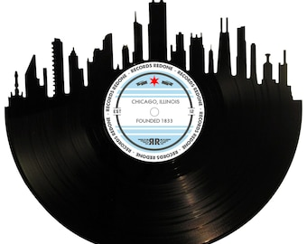 Chicago Skyline Records Redone Label Vinyl Record Wall Art
