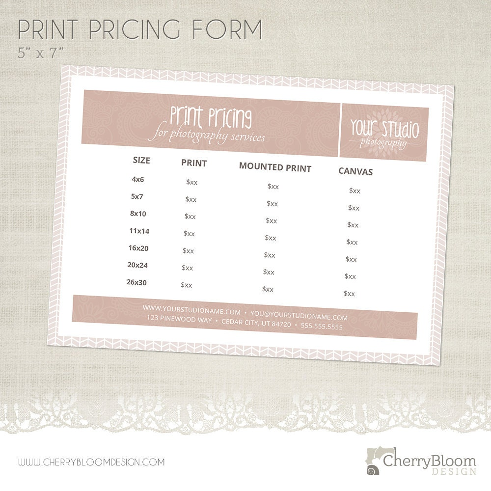 Print Pricing Form Template for Photographers Photographer
