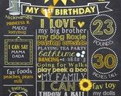 Sunflower First Birthday Chalkboard Poster - Flower 1st Birthday Chalk Board Sign - Printable Photo Prop