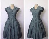 Vintage 1940s Dress | 1950s Sailor Dress | Green Grey Striped Dress | S