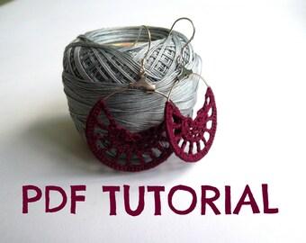 Crochet PDF Tutorial, Half Moon Earrings Crochet Pattern, DIY Guide, Jewelry Pattern Instant Download, Photo Tutorial, Crochet Design Ebook