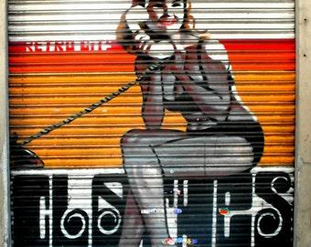 Photography print, Urban graffiti, Barcelona Spain, graffiti art print, loft decor, pin up girl, street art print, Urban art.