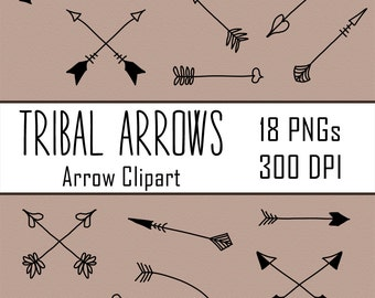 18 Tribal Arrows Doodle Clipart, Arrow Clipart, Hand Drawn Clip Art, Indian Clipart, Native American Clipart, Line Art, Sketch Clipart, PNG