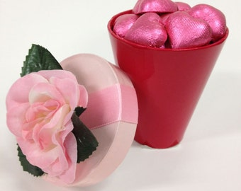 Rose Cup with Foil Wrapped Chocolates, Mother's Day, Sweetest Day, Valentine's Day