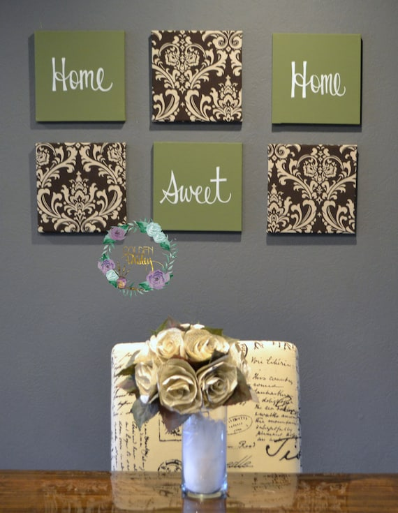 Eat Drink Amp Be Merry Olive Green Brown Wall Art Pack Of 6