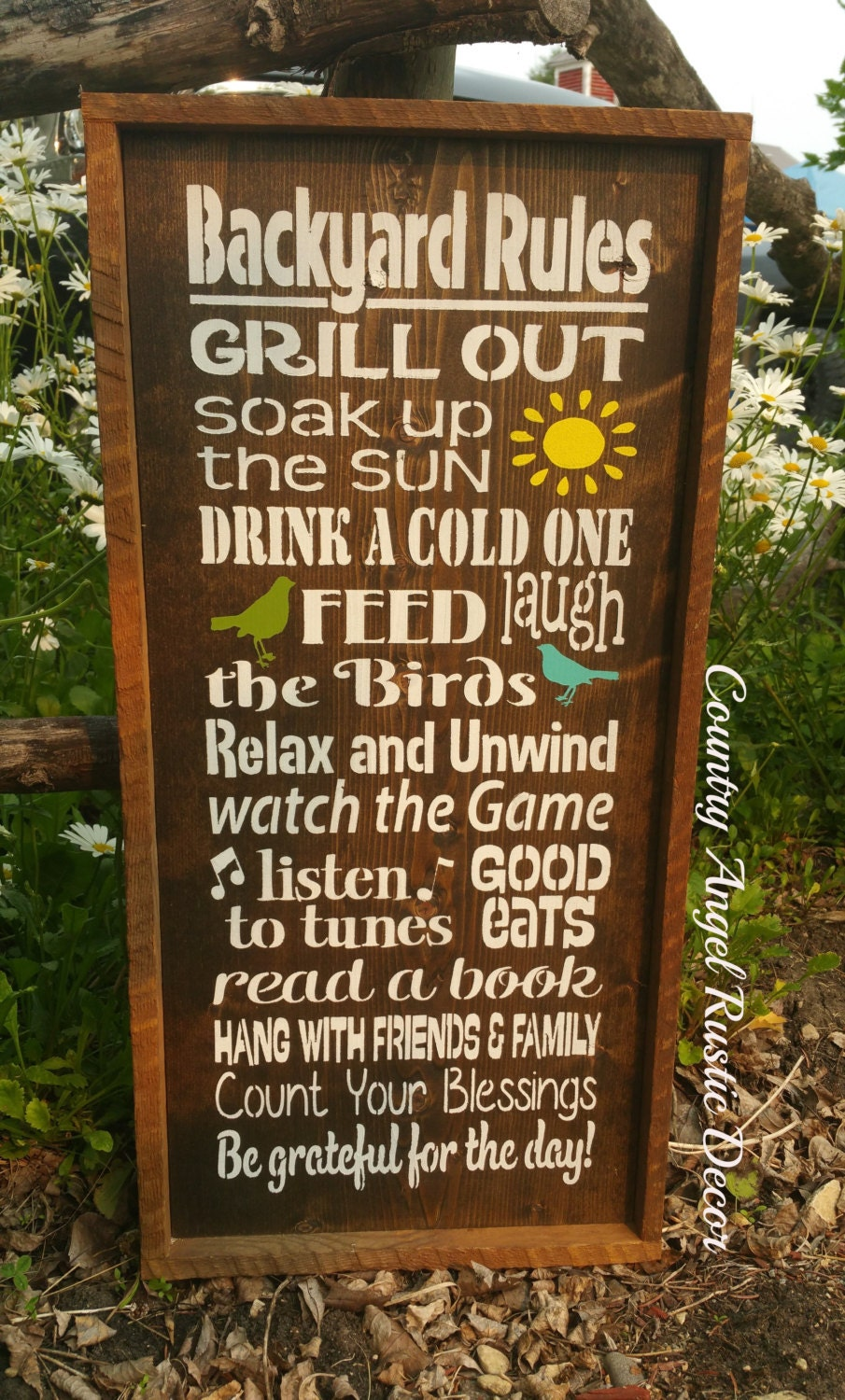 Backyard Rules Rustic Distressed Typography Subway Wood Sign