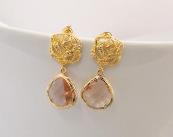 Fuchsia Pink Crystal Drop Earrings