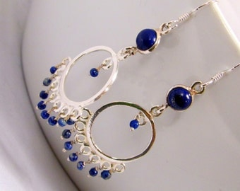 Sterling Silver Lapis Lazuli  Chandelier Earrings