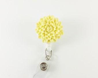 Pale Yellow Chrysanthemum - Flower Badge Reel - Dahlia Retractable ID Badge Holder - Teacher Badge Clip - Nurse Badges -  Flower ID Holder