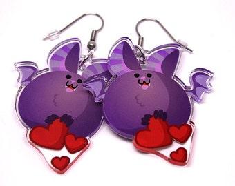 Cute Bat Earrings, Halloween, Halloween earrings, vampire bat, fat animals, scary accessories, scary earrings, spooky, spoopy