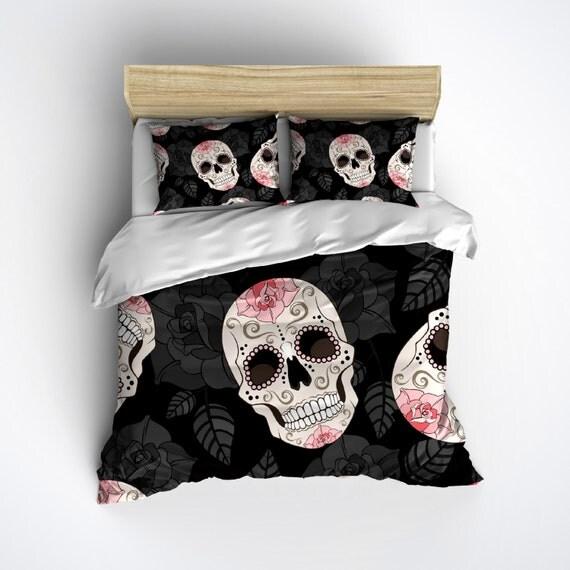 Fleece Sugar Skull Bedding Skull Bed Linens with by InkandRags