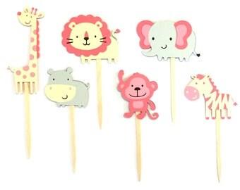 Set of 12 Girl Jungle Animal Cupcake Toppers / Girl Safari Animal Cupcake Toppers  Pink Jungle Animal Cupcake Toppers Monkey Cupcake Toppers