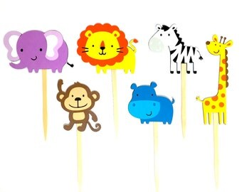 Set of 12 Jungle Animal Cupcake Toppers / Paper Safari Animal Cupcake Toppers Jungle Cupcake Toppers Safari Cupcake Toppers Monkey Elephant