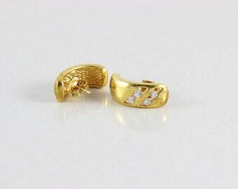Gold Over Sterling Hoop Earrings With White Topaz Hoop Earrings