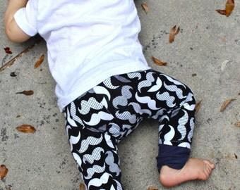Mustache Pants/Mustache Leggings Baby Boy/Trousers Toddler Pants/Baby Leggings/Pants Bandana Set/Mustache Outfit/Hipster