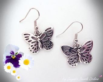 Butterfly Earrings, Papillon earrings, Butterfly Jewellery, Antique Silver earrings, Butterfly, ,