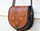 tooled light brown brown chocolate leather bag - shoulder bag - crossbody bag - handbag - ethnic bag - messenger bag - for women - capacious