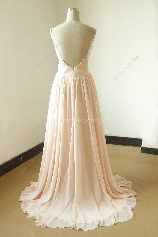 Blush open back chiffon lace destination beach wedding dress for Lace blush wedding dress
