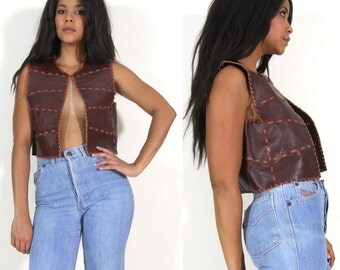 Vintage 70s Brown Leather Crop Top Vest Handmade Motorcycle Biker Hippie Festival