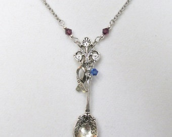 Spoonie, Chronic Illness necklace on stainless steel chain with hope awareness ribbon charm and crystals