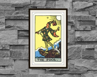 The Fool Rider-Waite-Smith Tarot Card Deck Vintage Retro 1910 Art Reproduction Print Poster Small Medium