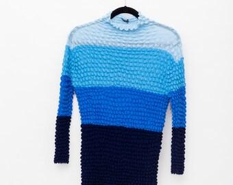 90s blue color block gradient knit popcorn shirt w/ mock turtle neck